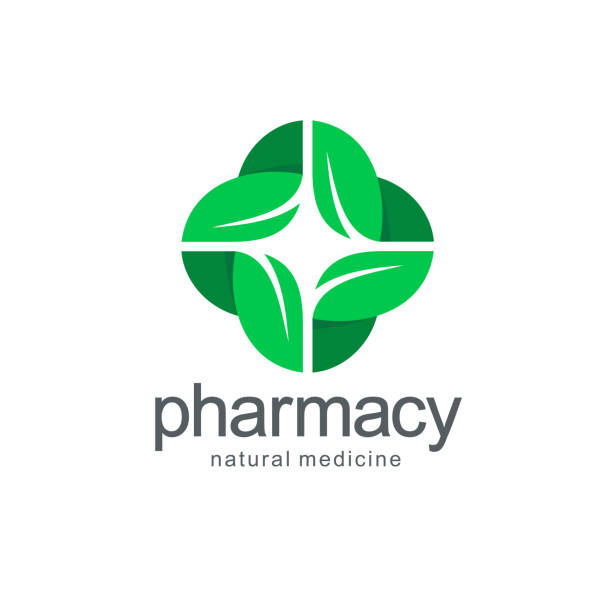 Vector emblem for  pharmacy. Green cross from the leaves. vector art illustration