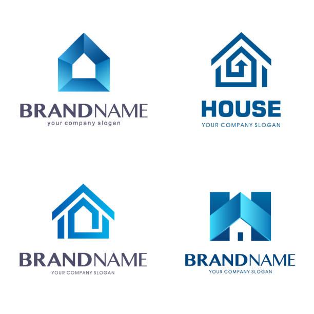 ilustraciones, imágenes clip art, dibujos animados e iconos de stock de diseño de icono de vector emblema. casa firma un conjunto de - logotipos de bienes inmuebles