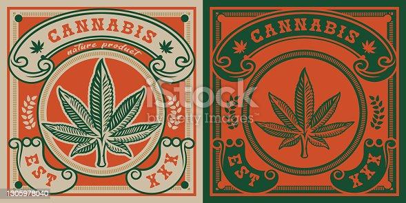 istock Vector emblem of cannabis leaf 1305978040