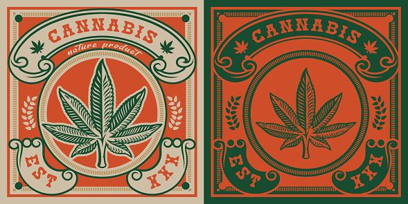 Vector emblem of cannabis leaf