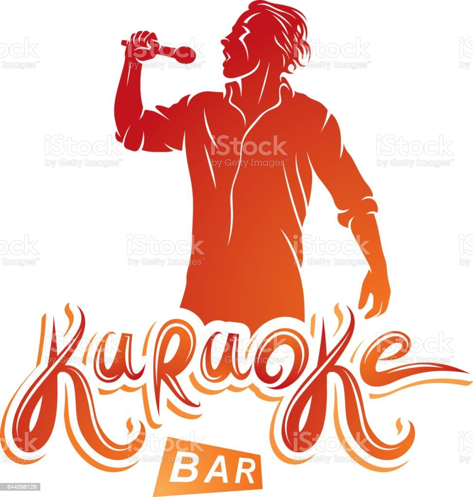 Vector emblem of exited man singing, soloist holds a microphone in hand. Karaoke bar, feel yourself a superstar. vector art illustration