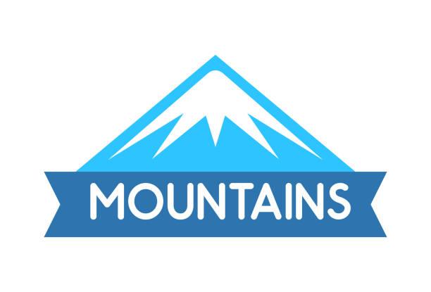 illustrazioni stock, clip art, cartoni animati e icone di tendenza di vector emblem of mountains in blue color, logo for decoration of tour to alps, everest, expeditions and travel - monte bianco