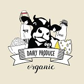 Vector emblem of the cow and dairy products.