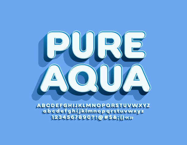 Vector emblem Pure Water with 3D Alphabet set Trendy Font for Marketing and Advertising three dimensional stock illustrations