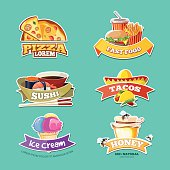 vector emblem set with food illustrations