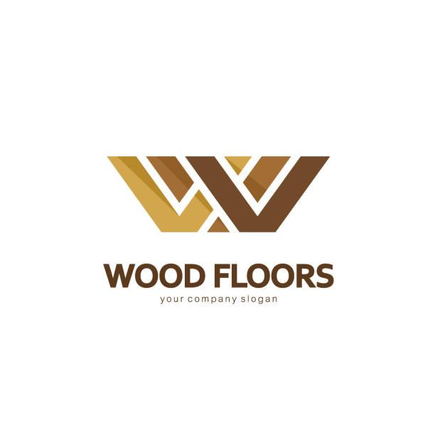 Vector emblem template. Wood floors Vector emblem template. Design icon for parquet, laminate, flooring, tiles. w logo stock illustrations
