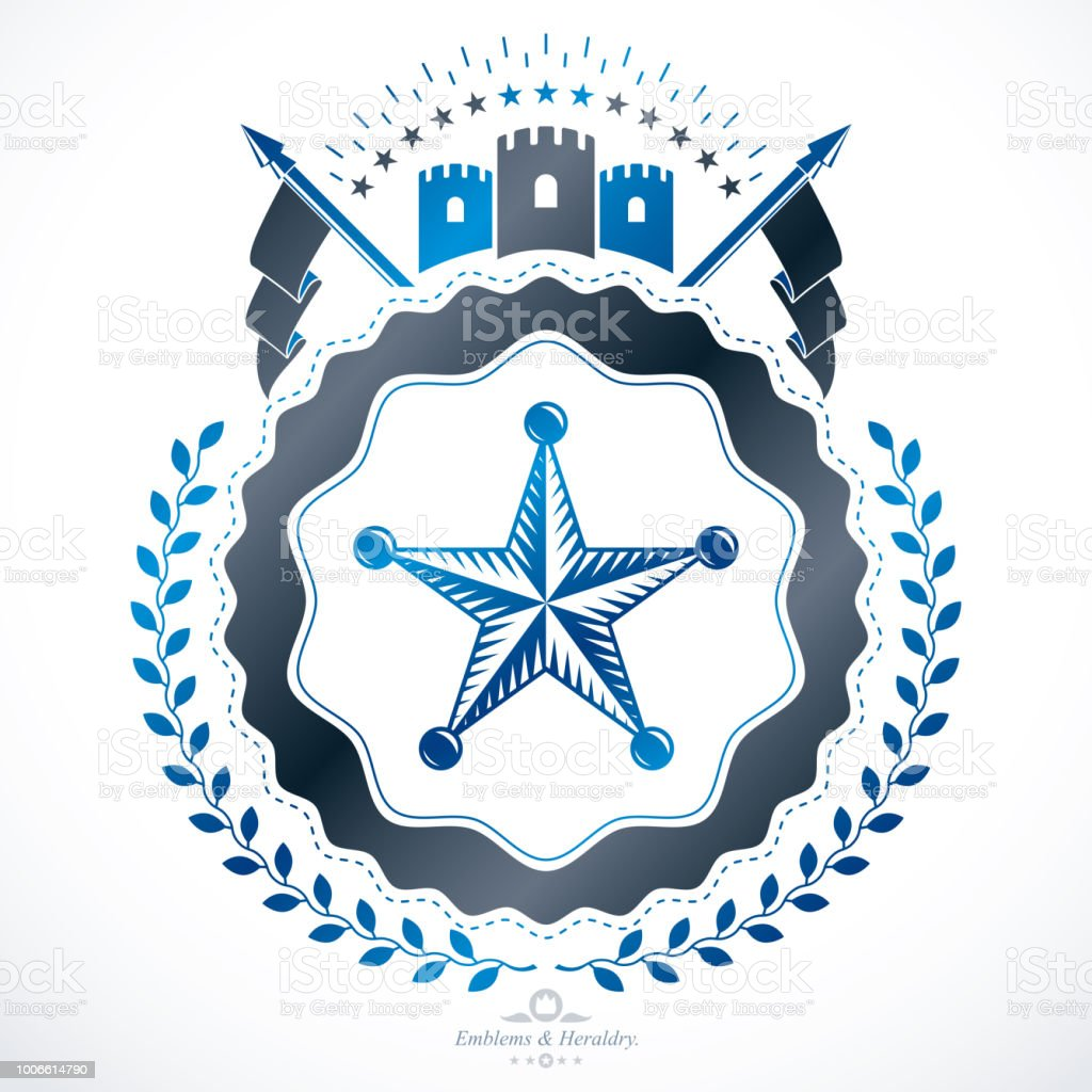 Emblema de vetor, heráldico do vintage design. - ilustração de arte em vetor