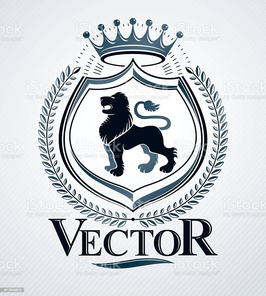 Vector emblem, vintage heraldic design. - ilustração de arte em vetor