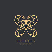 Vector emblem with golden butterfly. Concept for luxury jewelry, accessories store, beauty spa salon, cosmetics.