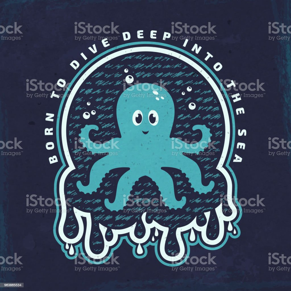 Vector emblem with octopus. Sea poster. - Royalty-free Animal stock vector