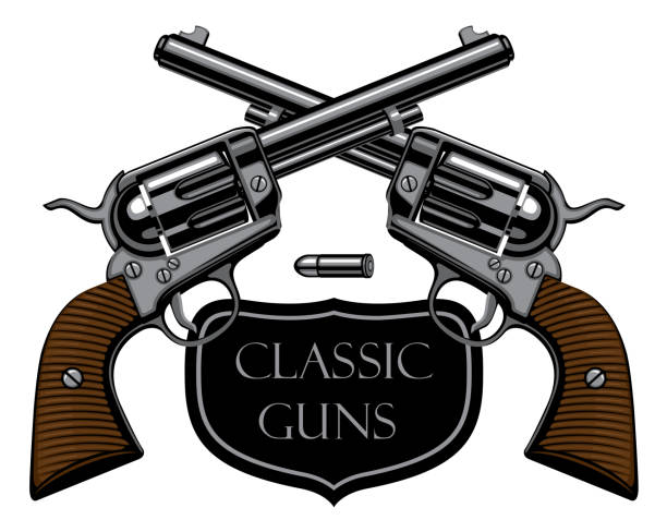 vector emblem with two old crossed revolvers Vector emblem with two old crossed revolvers and bullet on white background with words Classic guns. Banner on firearms and pistols theme in a realistic style. Design elements for logo, label, sign gun shop stock illustrations
