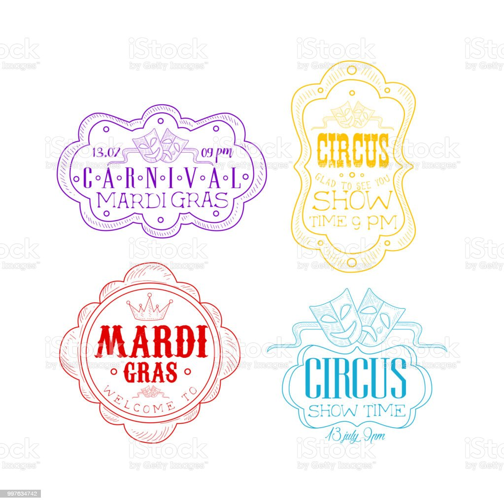 Vector Emblems For Circus And Mardi Gras Carnival In Different Colors Sketch Logos With Theatrical