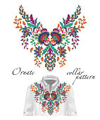 Vector embroidery ethnic flowers neck pattern. Blue flower design graphics fashion wearing. Presented on the white shirt layout