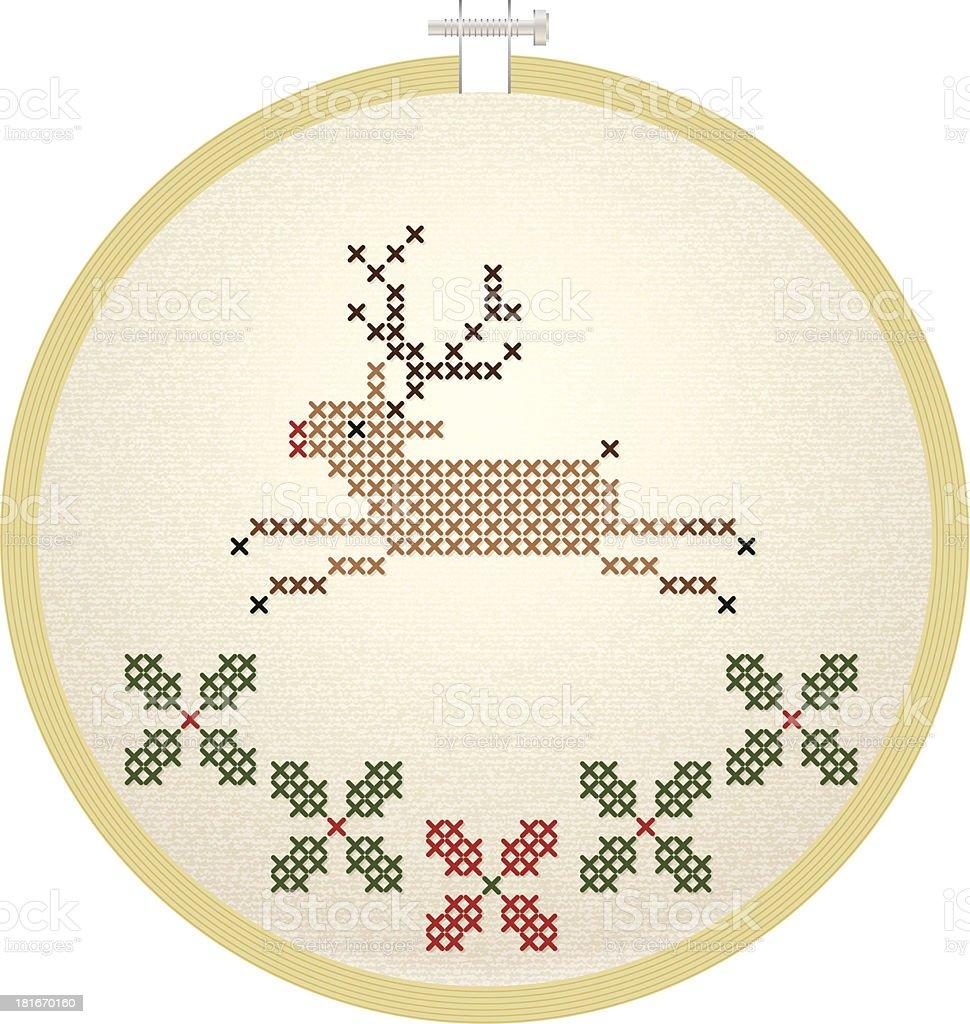 Vector embroidery hoop with Christmas deer royalty-free stock vector art