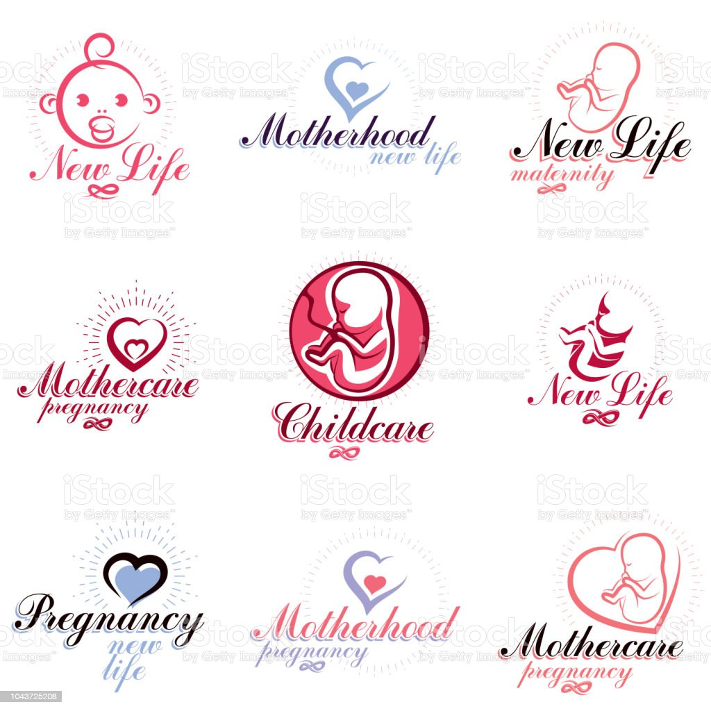 Vector embryo and newborn emblems set isolated on white. New life beginning drawings. Prenatal center and motherhood preparing clinic abstract emblems vector art illustration