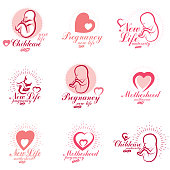 Vector embryo and newborn emblems set isolated on white. New life beginning drawings. Medical rehabilitation and childcare center emblems
