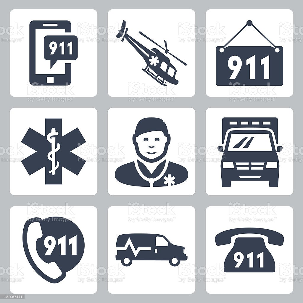 Vector emergency service icons set vector art illustration