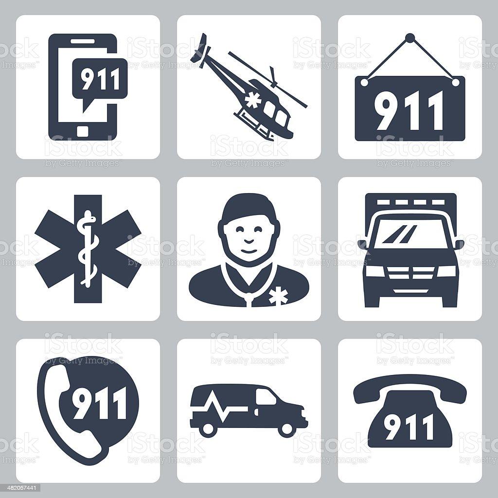 Vector emergency service icons set vector art illustration