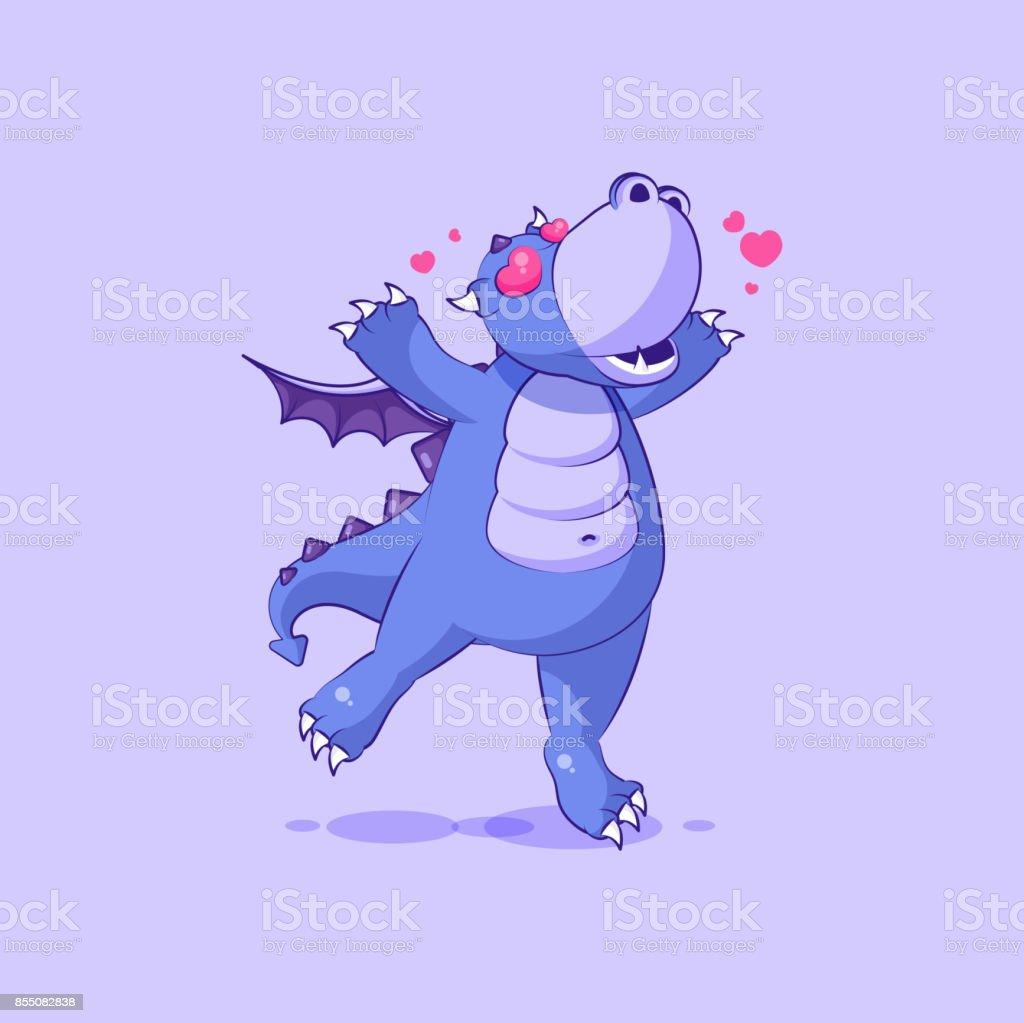 vector emoji personnage dessin anim dragon dinosaure amoureux voler avec emoticon autocollant coeurs vector emoji personnage - Dessin Avec Emoji