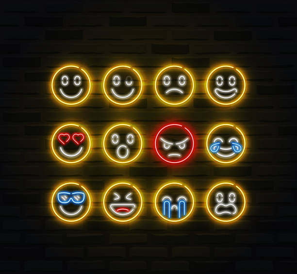 vector emoji icon set in outline neon style - tears of joy emoji stock illustrations