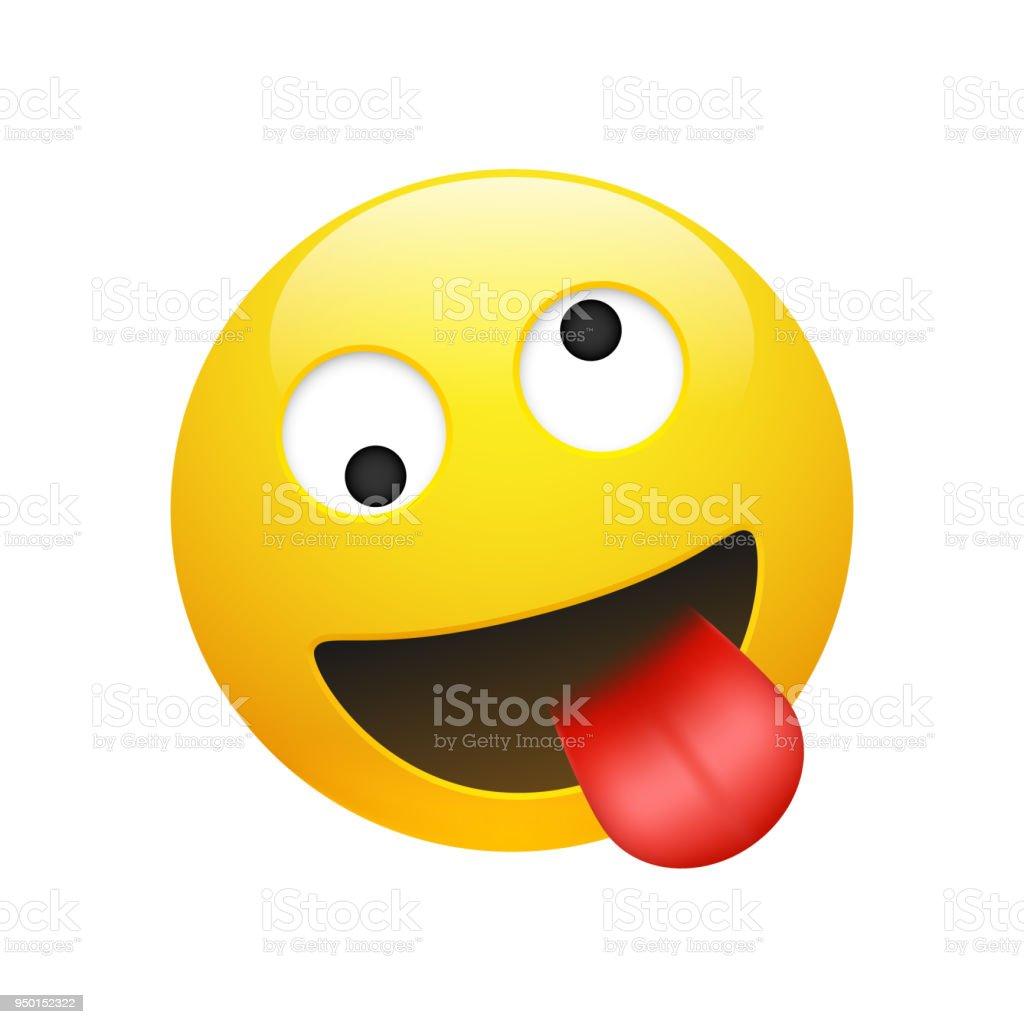 Vector emoji yellow smiley crazy face royalty free vector emoji yellow smiley crazy face stock