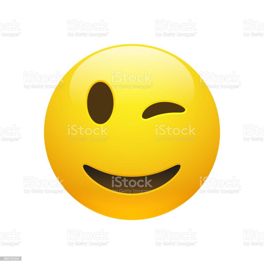Vector Emoji Yellow Smiley Winking Face Stock Illustration