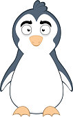 Vector emoticon illustration cartoon of a penguin's body with a carefree expression