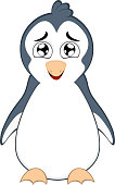 Vector emoticon illustration cartoon of a penguin´s body with an expression of tenderness, open mouth and a dreamy look
