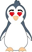 Vector emoticon  illustration cartoon of a penguin´s body with an expression of love and with heart-shaped eyes