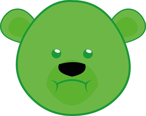 Vector emoticon illustration cartoon of a polar bear´s head with a disgusted expression, having nausea