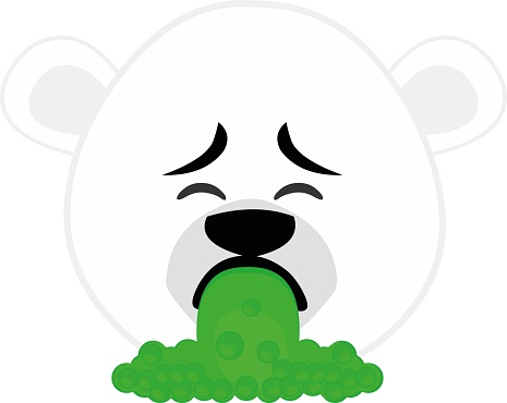 Vector emoticon illustration cartoon of a polar bear´s head with a disgusted expression, throwing up