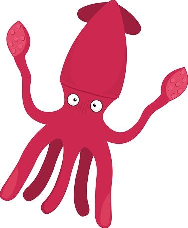 Vector emoticon illustration of a cartoon squid