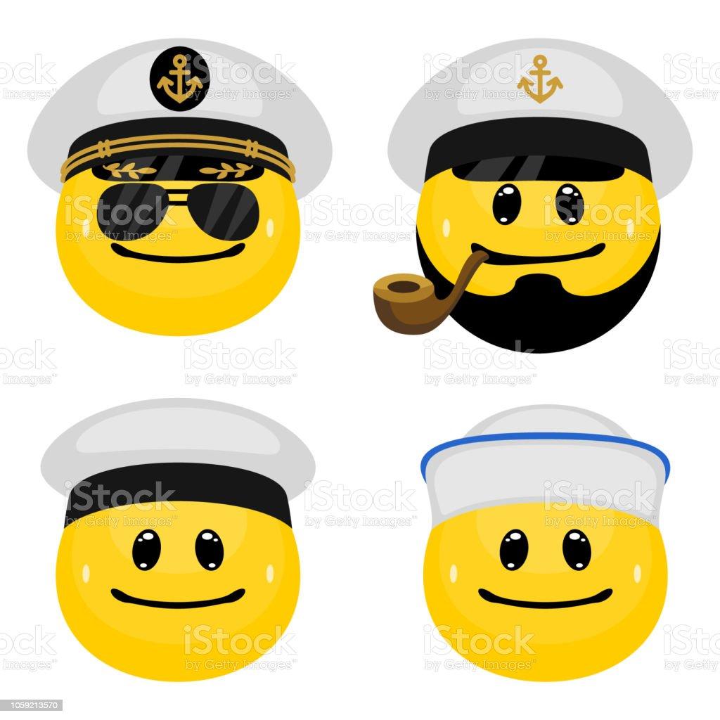 Vektor-Emoticon-Set marine Offiziere und Matrosen – Vektorgrafik