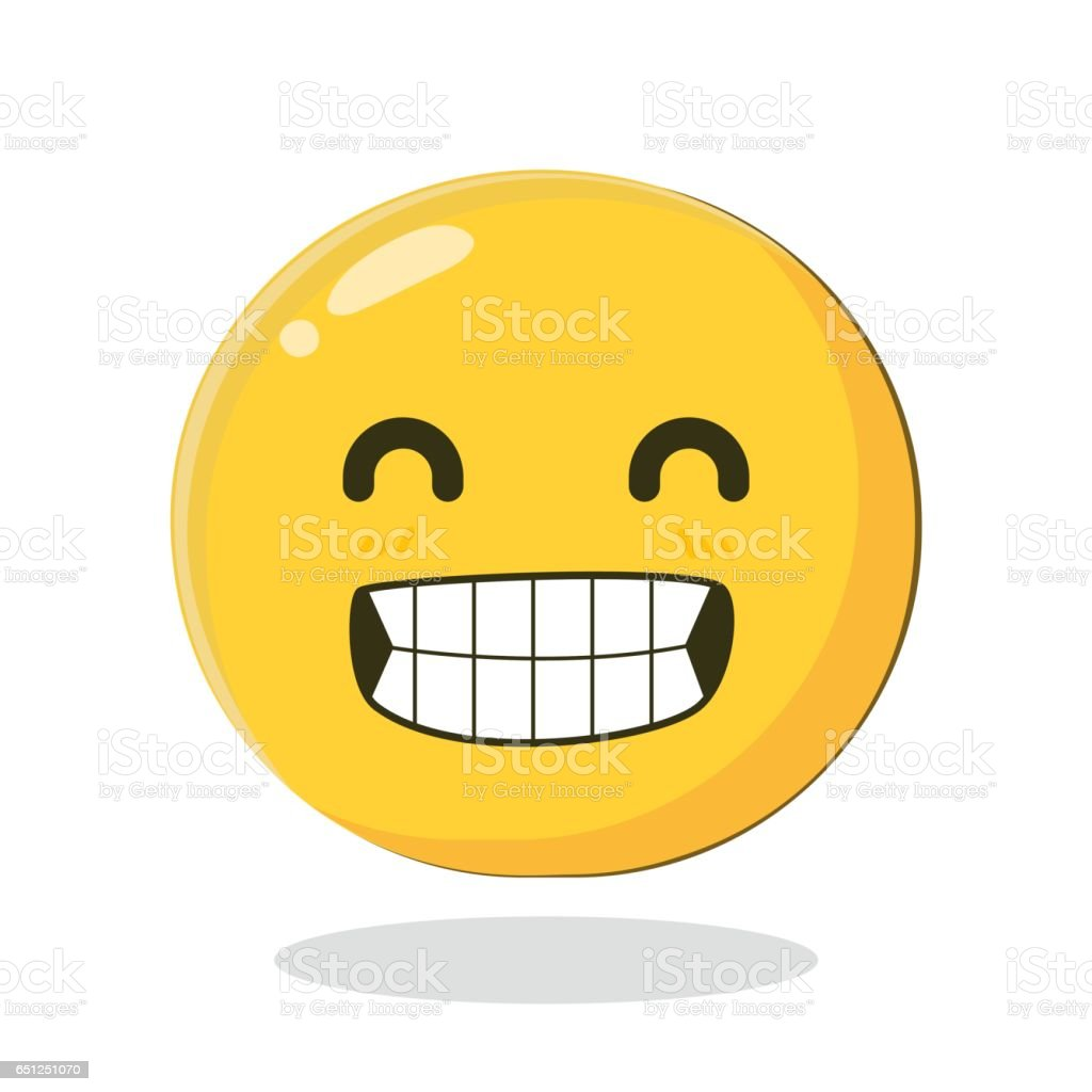 Vector Emoticon with big toothy smile vector art illustration