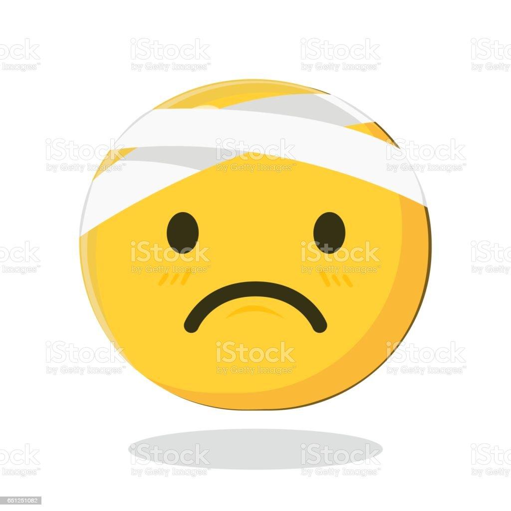 Vector Emoticon with Damaged Bandaged Head vector art illustration
