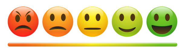 vector emotion feedback scale on white background - angry emoji stock illustrations