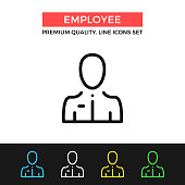 Vector employee icon. Man with tie and ID badge. Premium quality graphic design. Modern signs, outline symbols collection, simple thin line icons set