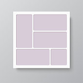 Templates collage five frames, photos, parts pictures, illustrations. Vector frame branding presentation. Creative theme with 5 part simple square border layout. Modern minimalistic mood board mockup.