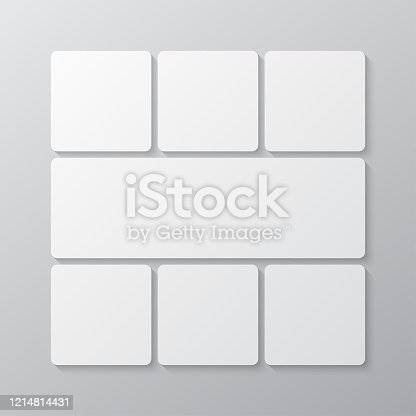 Templates collage seven frames, photos, parts pictures, illustrations. Vector frame branding presentation. Creative theme with 7 part simple square border layout. Modern minimalistic mood board mockup.