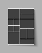 Templates collage twelve frames, photos, parts pictures, illustrations. Vector frame branding presentation. Creative theme with 12 part rectangle border layout. Modern minimalistic mood board mockup