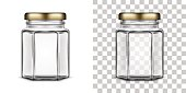 Vector empty hexagonal glass jar for honey with a metal screw cap lid isolated over white and transparent backgrounds. Realistic illustration.
