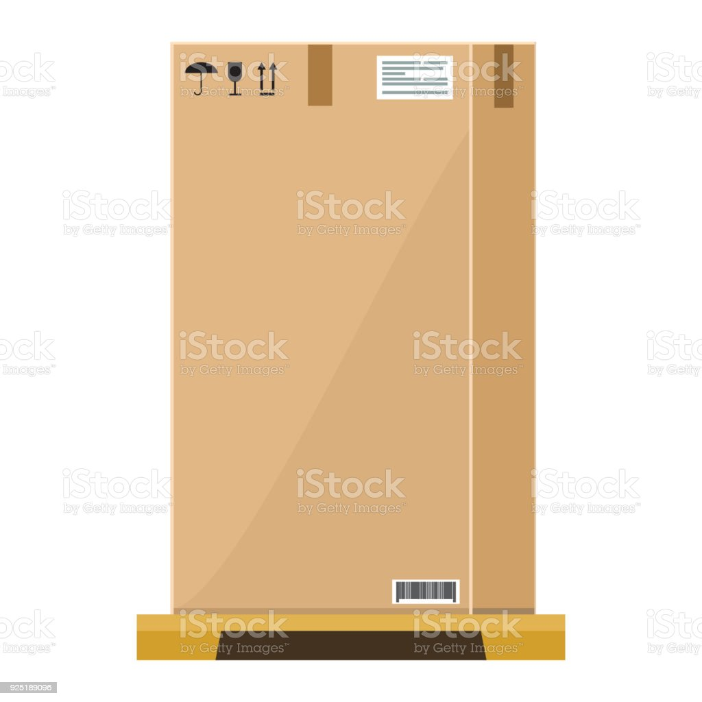Vector Empty High Cardboard Box On Wooden Pallet With Flat And Solid