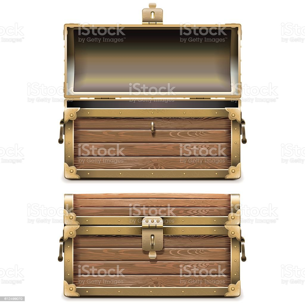Vector Empty Old Chest vector art illustration