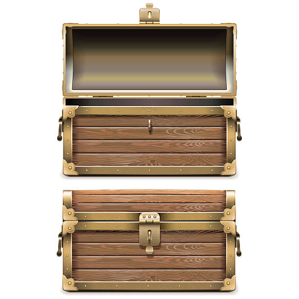 vector empty old chest - 옷서랍 stock illustrations