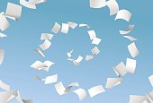 Vector empty papers flying in spiral on blue sky background - paperwork, office documents