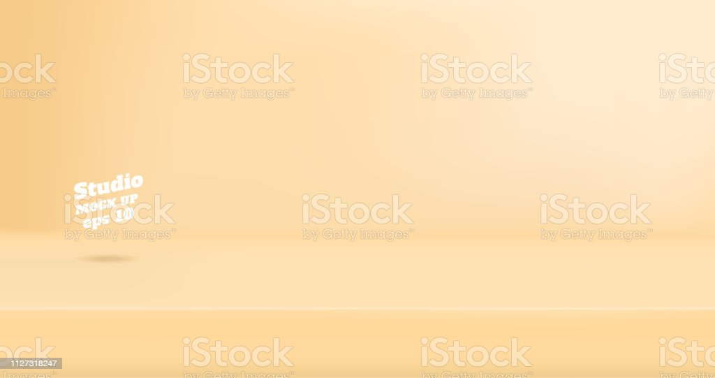 Vector Empty pastel beoge cream color studio table room background ,product display with copy space for display of content design.Banner for advertise product on website. - arte vettoriale royalty-free di A forma di blocco