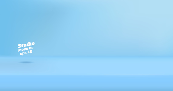 Vector Empty pastel blue color studio table room background ,product display with copy space for display of content design.Banner for advertise product on website