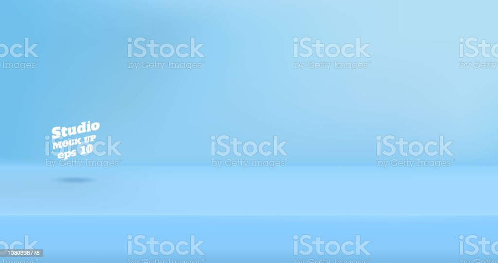Vector Empty pastel blue color studio table room background ,product display with copy space for display of content design.Banner for advertise product on website vector art illustration