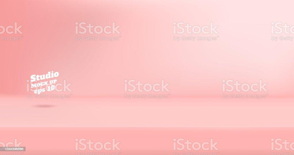 Vector tom pastell rosa färg studio tabell rum bakgrund, produkt display med kopia utrymme för visning av innehåll design. Banner för annonsera produkt på hemsida - Royaltyfri Abstrakt vektorgrafik