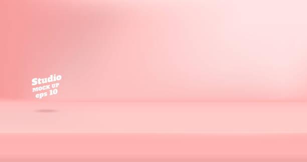 wektor pusty pastelowy różowy kolor studio pokój pokoju tła, wyświetlacz produktu z kopiuj miejsca do wyświetlania projektu treści. baner do reklamowania produktu na stronie internetowej - różowy stock illustrations